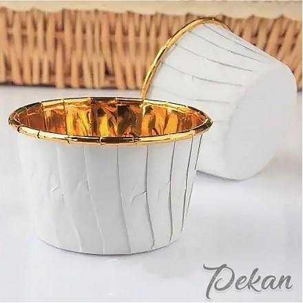 Бумажные формы для капкейков усиленные Белые золото с ламинацией 5х4 см, 10 шт