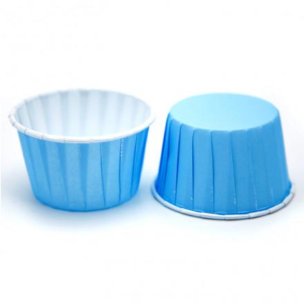 Бумажные формы для капкейков усиленные Голубые с ламинацией 5х4 см, 100 шт