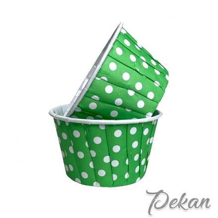 Бумажные формы для капкейков усиленные Зеленые белый горох с ламинацией 5х4 см, 10 шт