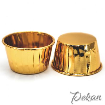Бумажные формы для капкейков усиленные Золото с ламинацией 5х4 см, 10 шт