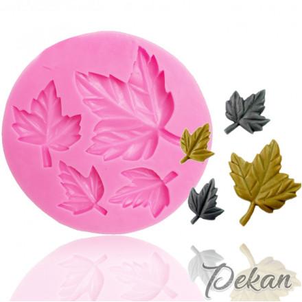 Молд силиконовый Кленовые листья, 4 ячейки