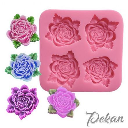 Молд силиконовый Розы ажурные, 4 ячейки