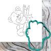 Вырубка для пряников и трафарет Мишка с карандашами №2
