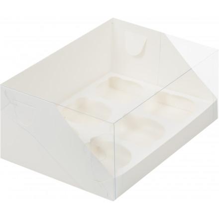 Коробка для 6 капкейков с прозрачной крышкой Белая №10