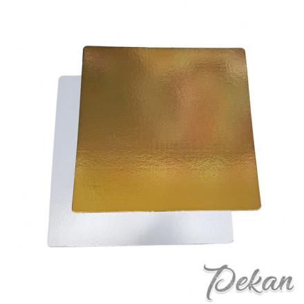 Подложка под торт Квадрат 300х300х3,2 мм золотая/белая