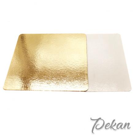 Подложка под торт Квадрат 400х400х3,2 мм золотая/белая