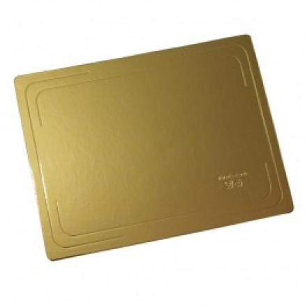 Подложка под торт Прямоугольник 300х400х1,5 мм золотая/белая