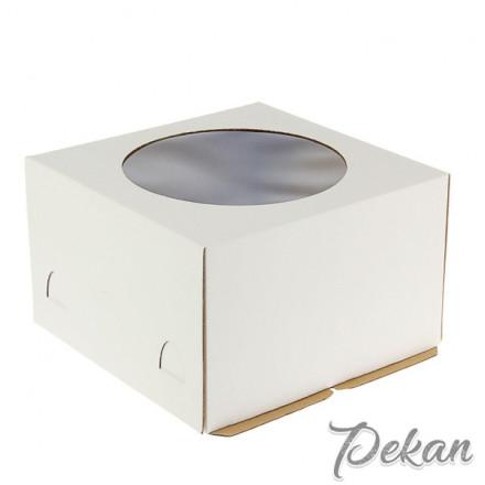 Коробка для торта 240х240х220 мм Белая с окном №104