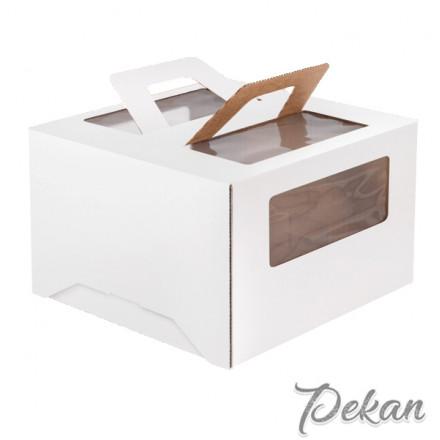 Коробка для торта с ручками Белая 220х220х150 мм №140